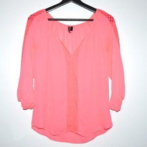 Tops - Neon Pink Chiffon Blouse